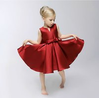 Wholesale Satin Vest Wholesale - New Baby Girls Christmas dress children Big Bows V-neck vest party dress kids red satin princess dress children Ball Gown A7078