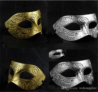 Wholesale Gladiators Masks - Men's retro Greco-Roman Gladiator masquerade masks Vintage Golden Silver Mask silver Carnival Mask Mens Halloween Mask Costume Party Ma
