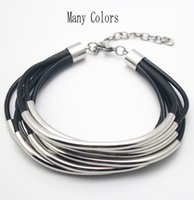 Wholesale Multi Bead Link Bracelet - Genuine Leather Cuff Bracelet with Gold Silver Tube Beads multi-strand Bangle for women Jewelry Many Colors