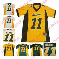 Wholesale North Shorts - NCAA Mens Youth Womens NDSU Bison #11 Carson Wentz Yellow Gold Green White Stitched North Dakota State College Jerseys Discount Size S-3XL