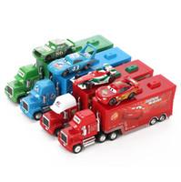 Wholesale Mcqueen Toys - Pixar Cars 2 Toys 2pcs Lightning McQueen City Construction Mack Truck The King 1:55 Diecast Metal Modle Figures For Kids