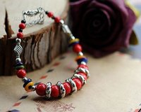 Wholesale Wholesale Coral Beaded Jewelry - 2016 Fashion New multi-element red coral beaded Tibetan silver bracelet colorful shells Cangyin wood lily bellsbracelet Jewelry #PH4777