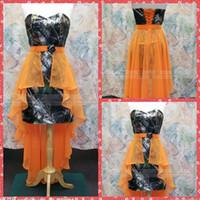 Wholesale Wedding Dress Chiffon Overlay - Sweetheart Short Mini Camo Bridesmaid Dresses Lace Up Back Chiffon Overlay Skirt Bridesmaid Party Gowns For Wedding Camouflage Fashion 2015