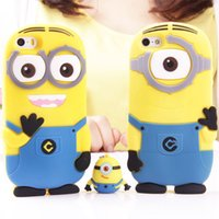 Wholesale Despicable Silicon Iphone - 3D cartoon model silicon material Despicable Me Yellow Minion Cover cute phone Case for iphone 4S 5S 6 plus small yellow people A5