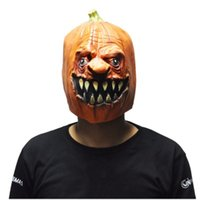 Wholesale Food Costumes Adults - Halloween Pumpkin Designs Latex Masks Scary Latex Party Mask Adult Cosplay Props Fancy Dress Free Shipping
