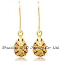 Wholesale Russian Eggs - Crazy for colors stylish woman fashion jewelry Russian Faberge egg drop earrings hand enameled with high quality E08