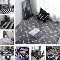 tapis gris achat en gros de-Tapis de couleur gris de style européen Tapis de zone Tapis de sol antidérapant Tapis antistatique décoratif super doux pour le salon