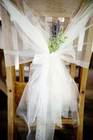 Wholesale Organza Chair Sashes Blue - Hot Fashion Tulle Table Cloth Chair Sashes Popular Wedding Chair Ribbon Gauze Back The Back Of The Chair Back Decoration Party Accessory