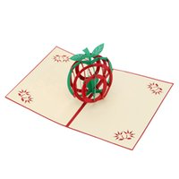 Natale modello di Apple di Natale Accessori 3D mano pieghevole Christmas Card Pop Up Kirigami natale cartolina di auguri