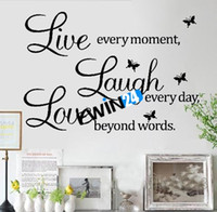 Wholesale 100 Brand New Removable Live Laugh Love Wall Quote Stickers Butterfly Vinyl Decal Home Decor sets