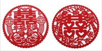 Wholesale Dragon Phoenix Wedding - Vintage Chinese Style Flower Dragon Phoenix Bird Red Double Happiness Wall Stickers For Home Decor Wedding Decoration