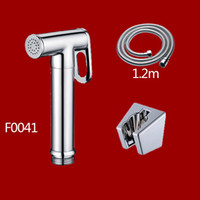 Wholesale Toilet Bidet Free Shipping - Free shipping Solid Brass chrome Toilet Shattaf Shower Women Handheld Bidets kits Portable Spray With Hose And Holder F004