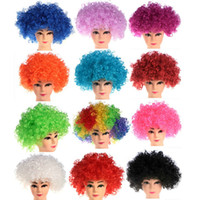 Wholesale Wigs Boy - New Party Clown Wigs Rainbow Afro Hairpiece Children Adult Costume Football Fan Wigs Halloween Christmas Colourful Explosion Head Wigs