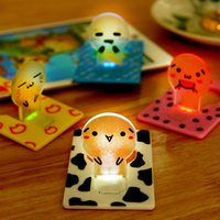 Wholesale wallet sized led light - creative new arrive Mini Wallet Pocket Credit Card Size Portable LED Night Light Lamp Bulbs Cute paper card flashlight