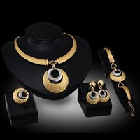 Wholesale Cheap Bridal Costume Jewelry - Cheap costume jewelry sets 18k gold plated rhinestones necklace Earrings Bracelets Rings fashion bridal wedding jewelry sets