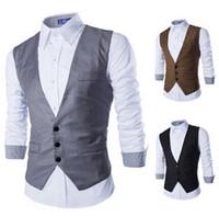 Wholesale Man Vest Korean - New vest for men 2015 autumn Korean business casual slim fit mens vest sleeveless suit vests cardigan jackets coat men's clothing
