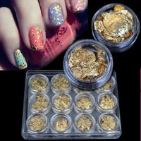 gel nails para venda venda por atacado-2015 nova supernova venda diy 3d decorações da arte do prego folha de ouro para uv gel acrílico decoração de unhas 12 pçs / set