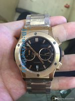 Wholesale Watches Hb - 2017 luxury new quartz chronograph, black dial, timing, all-gold belt, all black frame, HB color selection men's watch