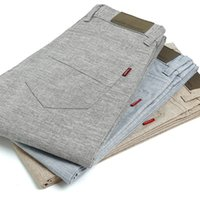 Wholesale Beige Slacks Men - Wholesale- Helisopus Ultra thin linen slacks men's Trousers Casual Breanthable Pants Fashion Cool Man Slim Straight Pants Slacks for Men