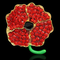 Wholesale Flower Memorial - Sparkling Red Crystal Poppy Flower Pins Brooches UK Fashion Memorial Day Gift Badge Pins Broaches Top Quality Jewerly Accessories