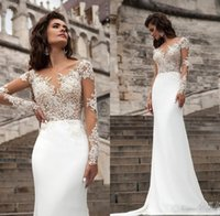 Wholesale Chiffon Beach Wedding Trumpet - Sexy Sheer Long Sleeves Lace Wedding Dresses 2018 Milla Nova Beach A Line Sweep Train Button Back Bohemian Wedding Dress Bridal Gowns