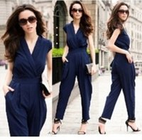 Wholesale Overall Work - New 2015 Women Jumpsuit Rompers Sexy Coveralls Overalls For Women One Piece Jumpsuit Female Fashion Office Clothes Work Wear