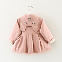 Wholesale Toddlers Trench Coats - New 2017 Girls Princess Coat Autumn Cat Embroidery Ruffle Toddler Outwear Fashion Toddler Trench Coat Infant Baby Boutique Clothing C2527