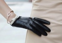 Wholesale Short Leather Gloves For Women - 2015 Classic genuine leather gloves for women 100% sheepskin touch screen gloves for iphons smartphone short wrist black size XS,S, M,L