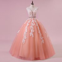 Wholesale Vintage Crystal Candy - Real Photos Candy Color Tulle Ball Gown Wedding Dresses Sexy V-neck Coral Appliques Sequined Beading Bridal Wedding Gowns Vestido de Noiva