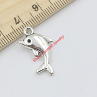 Wholesale Antique Dolphins - 20pcs Dolphin Charms Antique Silver Plated Animal Pendants for Jewelry Making DIY Handmade Craft 23x13mm Jewelry making DIY