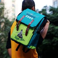 Wholesale-ANIME One Piece-Schulter-Schule-Beutel-Laptop-Rucksack Blau-Oxford-Gewebe Roronoa Zoro Pirate Cosplay GIFT