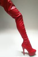 bottes au genou rouge mat achat en gros de-Wonderheel cuisse talon haut talons sexy talons de 15 cm RED MATTE bottes à plateforme LACE UP sur le genou botte entrejambe botte dropshipping