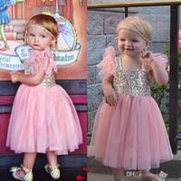 Wholesale Sweet Garden Girl - Cute Sweet Flower Girls Dresses For Wedding Sweet Pink Skirt for Girls Pageant Dresses Garden Sweet Length Sequins Bodice