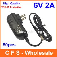 Wholesale 6v 2a Power Supply - 50pcs High quality IC version AC 100V-240V Converter Adapter DC 6V 2A Power Supply Charger Fedex   DHL Free shipping