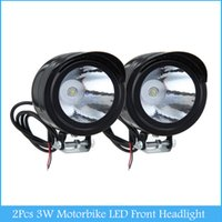 Wholesale Head Light Motorcycle Wholesale - Universal 2Pcs 3W Led Motor Spot Light Motorbike LED Front Headlight Head Lamp Motorcycle Lightng source C386