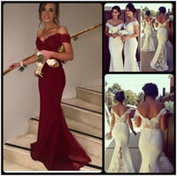 Wholesale Vintage Bridesmaid Fashion - Elegant Wine Red Evening Dresses Charming Cap Sleeve Mermaid Women Formal Dresses 2016 Vestidos de Festa Long Bridesmaid Dresses