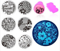 neue nagellack-designs großhandel-Neu Kommen 60 Designs Nail art Schablonen Stamping Schablone Polish Print Nail Image Platte Stamper Schaber Set DIY Maniküre Werkzeuge