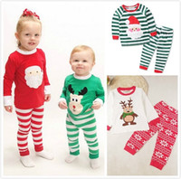 Wholesale Wholesale Children Cotton Night Clothes - 2017 Christmas Xmas Pajamas Sleepwear Clothing Children Night Wear Kids Sleep Clothes Suits Boys Girls Cotton Pajamas Outfits Clothing Sets