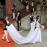 Wholesale Wedding Dresses Monarch Trains - Celebrity Wedding Dresses 2015 A Line Long Sleeve Sheer V Neck Lace Organza inspired by Sofia Hellqvist Royal Wedding Dresses