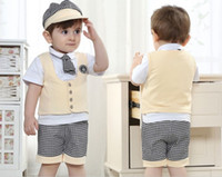 Wholesale England Tshirt - 1Set Retail Baby Clothing 4pcs Set School Summer Boy Gentleman Waistcoat Tshirt Cap Shorts Kids Suit Children Sets GX386