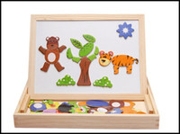 Wholesale Toddler Wooden Building Blocks - 2015 toddler kids fancy toys wooden magnetic multifunctional learning toys baby building blocks sketch pad double size J071006#