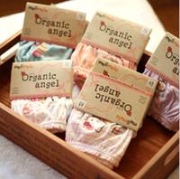 ropa interior orgánica para bebés al por mayor-Ropa interior infantil de dibujos animados patrón de algodón orgánico bebé niños lindos niñas calzoncillos bragas niños ropa con paquete de tarjeta