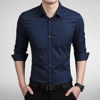 Wholesale Slim Fit Camisas - New Fashion Dot Men Shirt Slim Fit Mens Dress Shirts Camisas Hombre Long Sleeve Vestidos Social Shirt Men 5Colors M-5XL