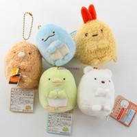 Wholesale San X Wholesale - 5 pcs set Sumikko gurashi mini plush pendant dolls cartoon San-X Sumikkogurashi mini plush toys free shipping