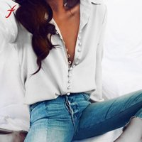 Wholesale Wholesale Button Down Shirts - Wholesale- Women Casual Solid Long Sleeve Blouse Lapel Shirt blouse shirt women Turn-down Collar Regular blusas chemise femme manche longue