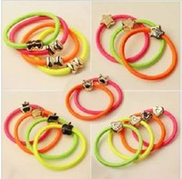 Wholesale Neon Hair Rubber Bands - w1029 Q997 accessories love five-pointed star bow tie neon color headband tousheng candy color rubber band hair rope