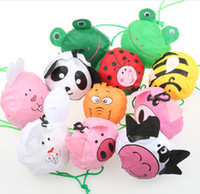 Wholesale panda rabbit - MIC 12styles New Cute Useful Animal Bee Panda Pig Dog Rabbit Foldable Eco Reusable Shopping Bags 12Styles
