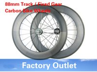 Wholesale Road Bicycle Single Speed - 23mm width 700c bicycle wheels track 88mm clincher carbon track wheel fixed gear single speed wheelset with hub Novatec 165 166