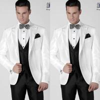 Wholesale Italian Wool Men Suit - Italian Mens Suits White Jacket Black Pants Wedding Tuxedos Jacket+Pants+Tie+Vest formal suits men suits Groomsmen suits