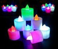 Wholesale Colored Led Tealight Candles - Colorful Electronic candle LED Candles lights LED Tealight Tea Candles Light Waterproof Candle Wedding Birthday Party Christmas Night lights